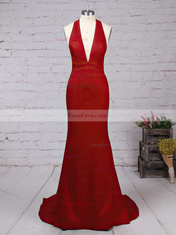 Trumpet/Mermaid V-neck Sweep Train Silk-like Satin Prom Dresses with Ruffle #Favs020103526