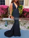 Trumpet/Mermaid V-neck Silk-like Satin Sweep Train Prom Dresses #Favs020103526