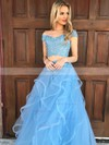 A-line Off-the-shoulder Floor-length Tulle Prom Dresses with Appliques Lace #Favs020104809