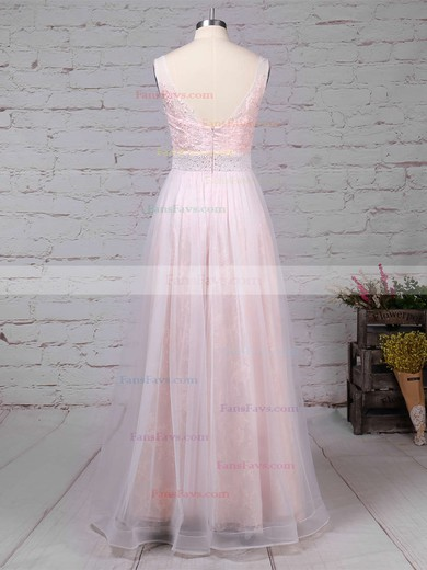 Princess V-neck Lace Tulle Floor-length Crystal Detailing Prom Dresses #Favs020104814