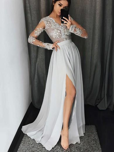 A-line V-neck Floor-length Chiffon Prom Dresses with Appliques Lace Split Front #Favs020104820