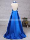 A-line Halter Floor-length Satin Prom Dresses with Ruched Split Front #Favs020104823