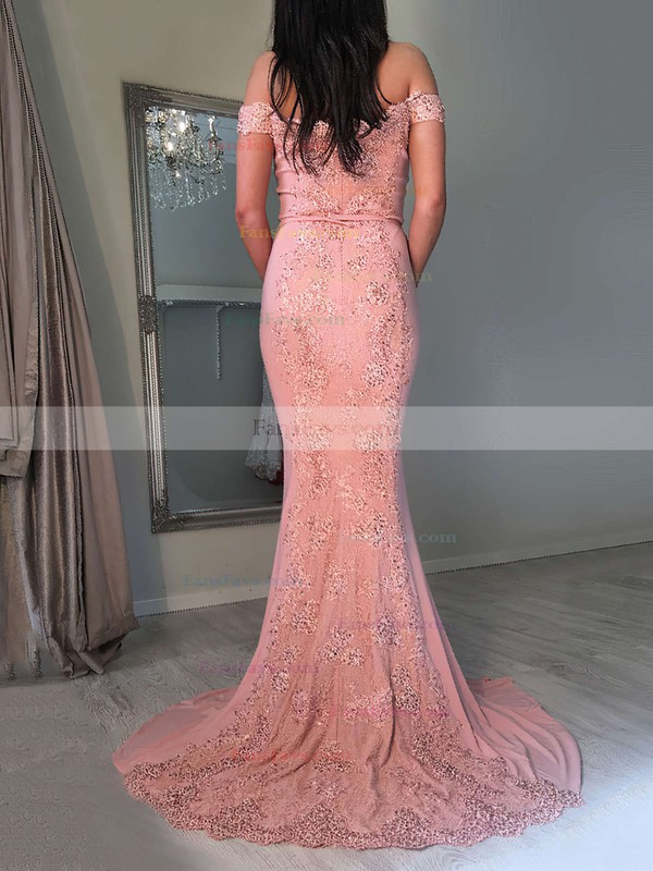 Trumpet/Mermaid Off-the-shoulder Jersey Sweep Train Appliques Lace Prom Dresses #Favs020104826