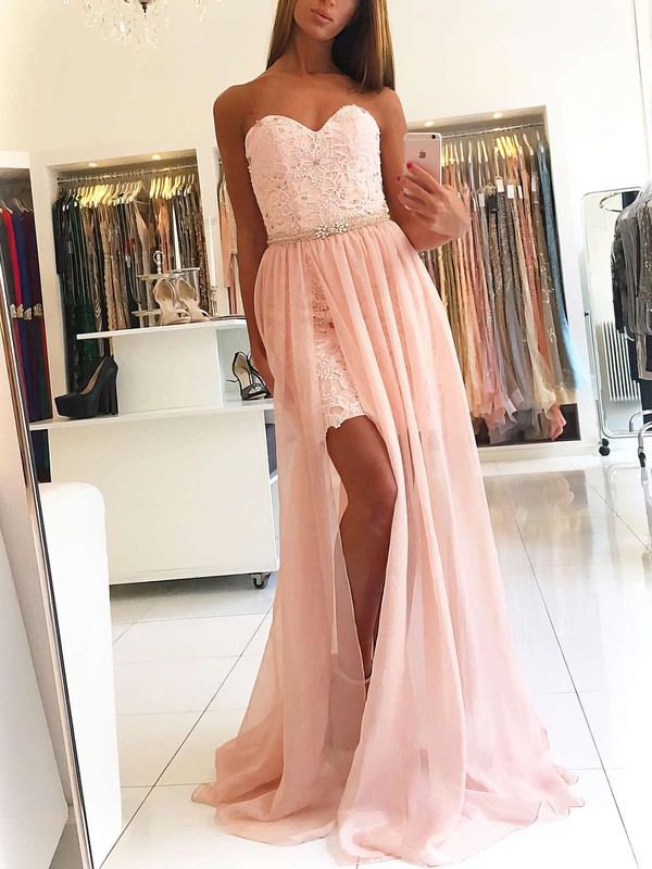 Sheath/Column Sweetheart Sweep Train Chiffon Prom Dresses with Lace Split Front #Favs020104827