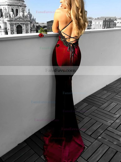 Trumpet/Mermaid Halter Velvet Sweep Train Appliques Lace Prom Dresses #Favs020104830