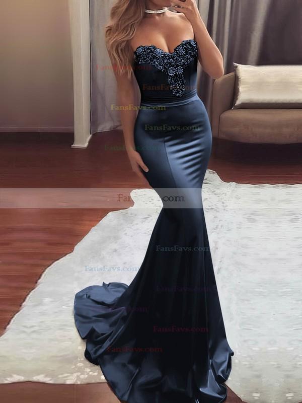 Trumpet/Mermaid Sweetheart Silk-like Satin Sweep Train Beading Prom Dresses #Favs020104831