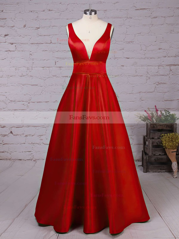 Princess V-neck Floor-length Satin Prom Dresses with Sashes #Favs020104832
