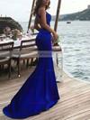 Trumpet/Mermaid Scoop Neck Sweep Train Silk-like Satin Prom Dresses #Favs020104835