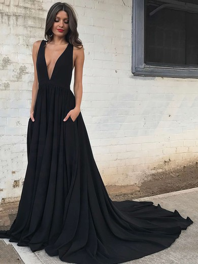 Princess V-neck Silk-like Satin Sweep Train Pockets Prom Dresses #Favs020104837