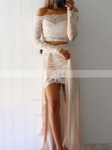 Sheath/Column Off-the-shoulder Lace Chiffon Floor-length Split Front Prom Dresses #Favs020104850