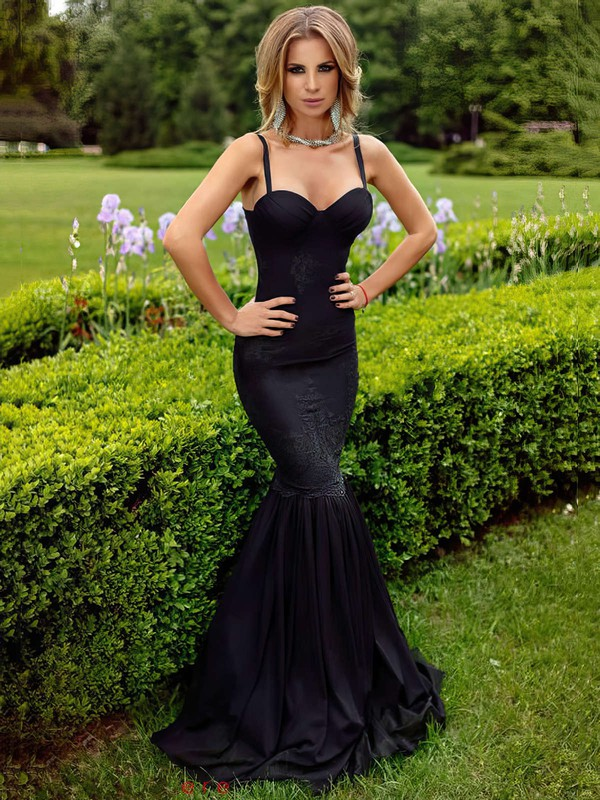 Trumpet/Mermaid Sweetheart Floor-length Silk-like Satin Prom Dresses with Appliques Lace #Favs020103550