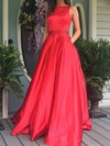 Princess Scoop Neck Satin Floor-length Beading Prom Dresses #Favs020104862