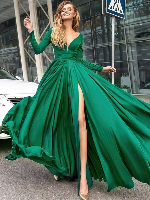 A-line V-neck Satin Chiffon Floor-length Sashes / Ribbons Prom Dresses #Favs020104878