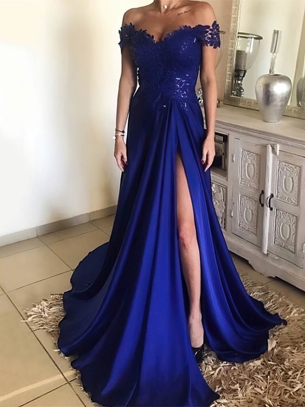 A-line Off-the-shoulder Sweep Train Silk-like Satin Prom Dresses with Appliques Lace Split Front #Favs020104879