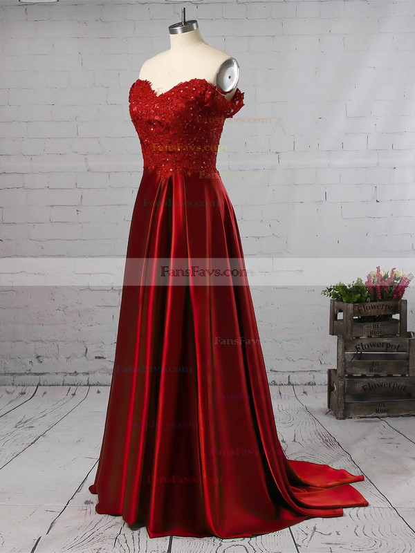 A-line Off-the-shoulder Silk-like Satin Sweep Train Appliques Lace Prom Dresses #Favs020104879