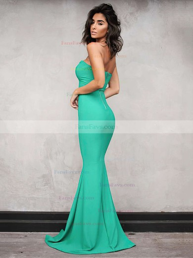 Trumpet/Mermaid V-neck Floor-length Jersey Prom Dresses #Favs020104889