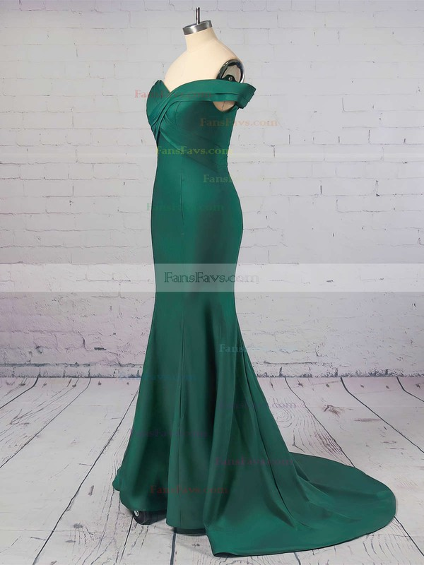 Trumpet/Mermaid Off-the-shoulder Sweep Train Silk-like Satin Prom Dresses with Ruffle #Favs020104890
