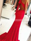 Sheath/Column Halter Sweep Train Jersey Prom Dresses with Split Front #Favs020104892