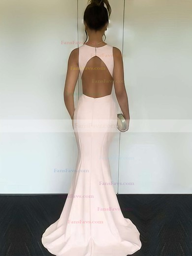 Trumpet/Mermaid Scoop Neck Silk-like Satin Sweep Train Prom Dresses #Favs020104893