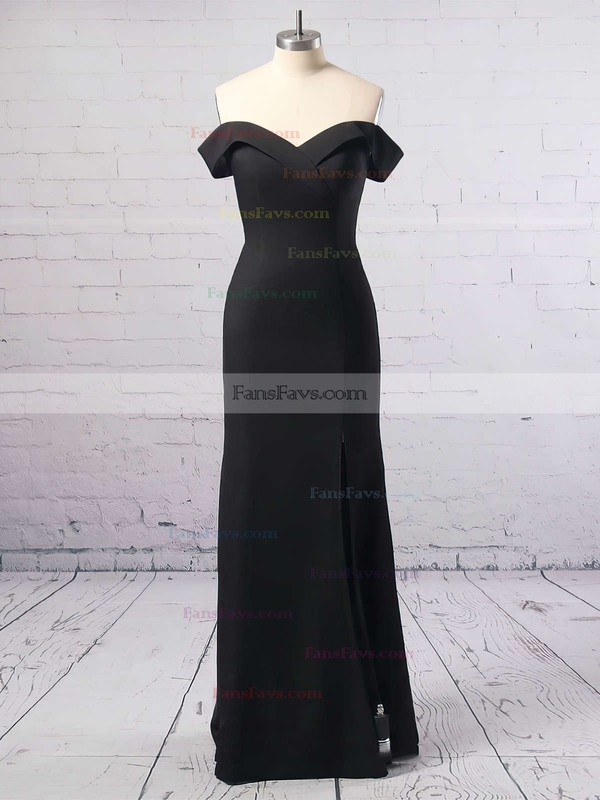 Sheath/Column Off-the-shoulder Floor-length Satin Chiffon Prom Dresses with Split Front #Favs020104897