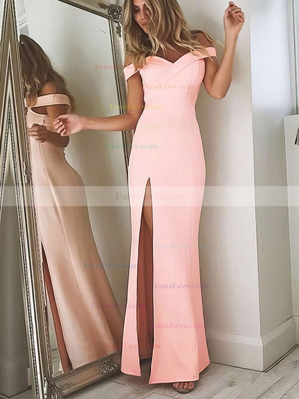 Sheath/Column Off-the-shoulder Floor-length Satin Chiffon Prom Dresses with Split Front #Favs020104897