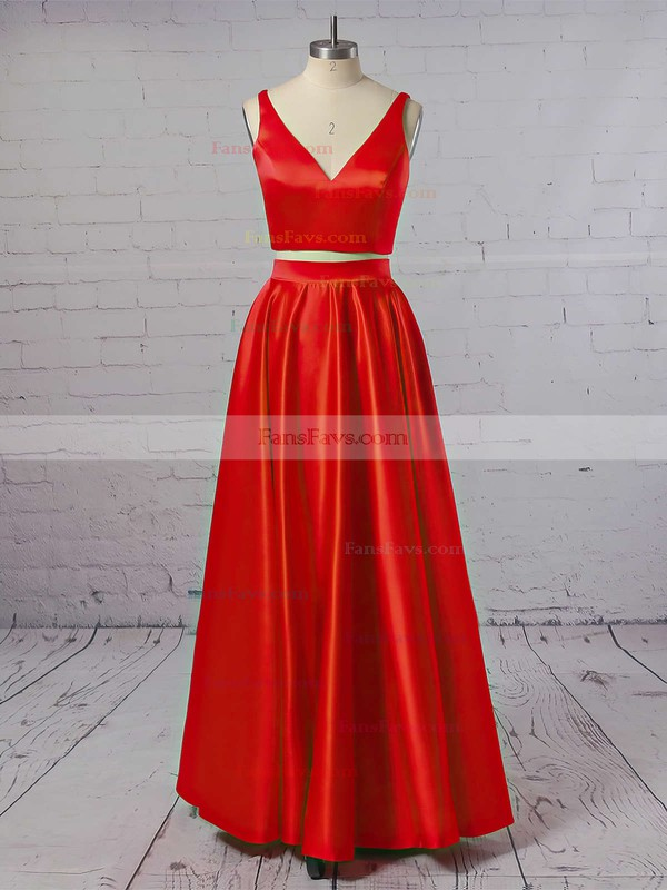 Princess V-neck Floor-length Satin Prom Dresses #Favs020104903