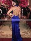 Sheath/Column High Neck Silk-like Satin Floor-length Split Front Prom Dresses #Favs020104904