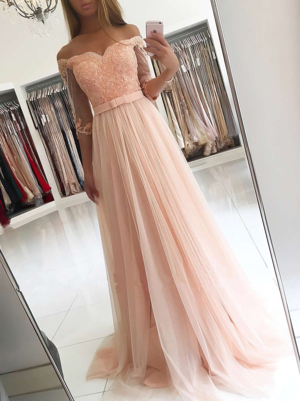 A-line Off-the-shoulder Floor-length Tulle Prom Dresses with Appliques Lace Sashes #Favs020104905