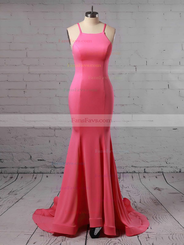 Trumpet/Mermaid Scoop Neck Jersey Sweep Train Prom Dresses #Favs020104907