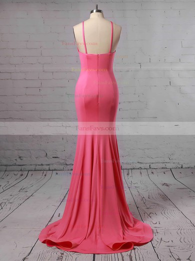 Trumpet/Mermaid Scoop Neck Sweep Train Silk-like Satin Prom Dresses #Favs020104907