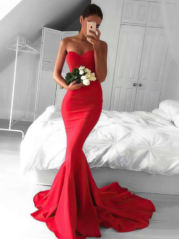 Trumpet/Mermaid Sweetheart Sweep Train Silk-like Satin Prom Dresses with Ruffle #Favs020103568