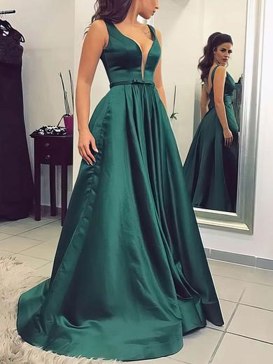 Princess V-neck Satin Sweep Train Sashes / Ribbons Prom Dresses #Favs020104908