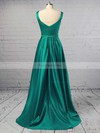 Princess V-neck Sweep Train Satin Prom Dresses with Ruched Sashes #Favs020104908