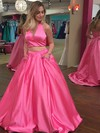 Princess Halter Satin Sweep Train Beading Prom Dresses #Favs020104913