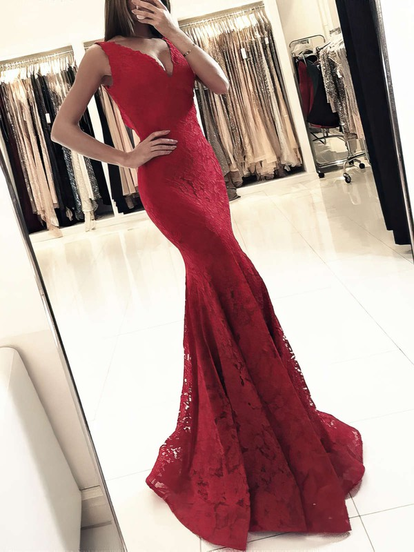 Trumpet/Mermaid V-neck Lace Floor-length Prom Dresses #Favs020104918