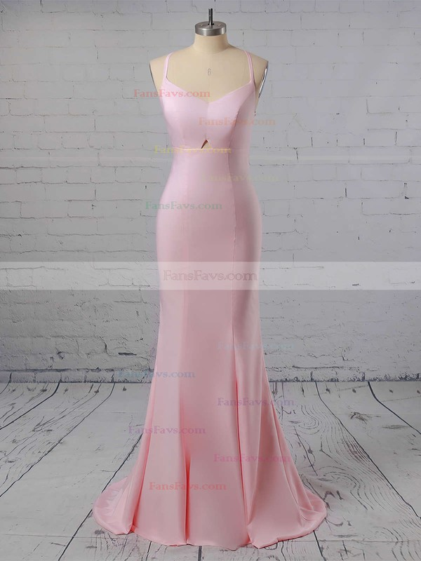 Trumpet/Mermaid Sweetheart Sweep Train Silk-like Satin Prom Dresses #Favs020104922