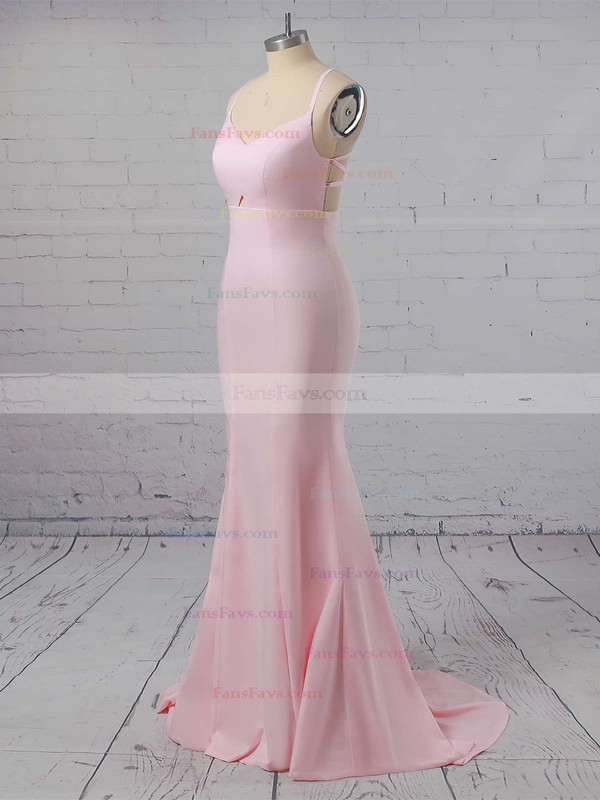 Trumpet/Mermaid V-neck Silk-like Satin Sweep Train Prom Dresses #Favs020104922