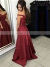 A-line Off-the-shoulder Silk-like Satin Sweep Train Sashes / Ribbons Prom Dresses #Favs020104929
