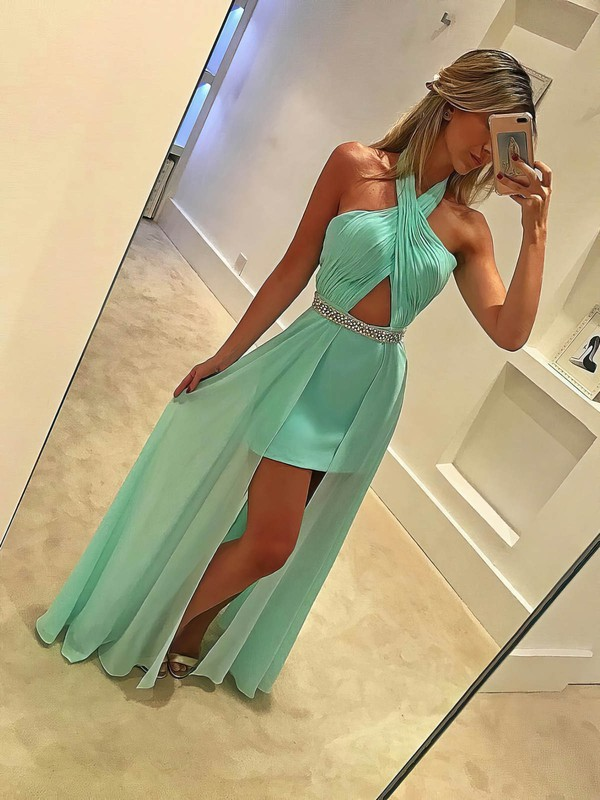 Sheath/Column Halter Chiffon Floor-length Beading Prom Dresses #Favs020104930