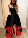 A-line Sweetheart Satin Asymmetrical Pockets Prom Dresses #Favs020104939
