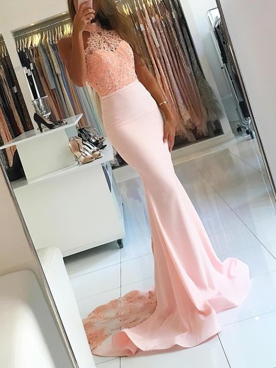 Trumpet/Mermaid Halter Sweep Train Jersey Prom Dresses with Appliques Lace #Favs020104945