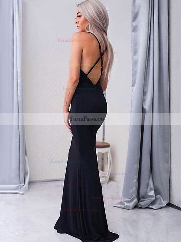 Trumpet/Mermaid V-neck Floor-length Jersey Prom Dresses #Favs020104950