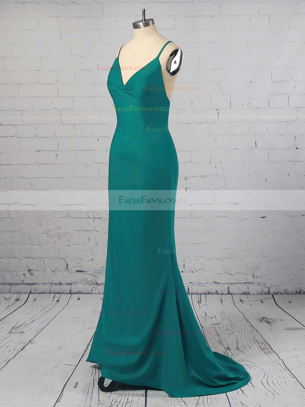 Trumpet/Mermaid V-neck Floor-length Jersey Prom Dresses #Favs020104950