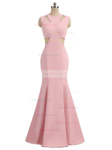Trumpet/Mermaid Scoop Neck Sweep Train Silk-like Satin Prom Dresses with Ruffle #Favs020105015