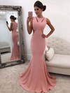 Trumpet/Mermaid Scoop Neck Silk-like Satin Sweep Train Prom Dresses #Favs020105015