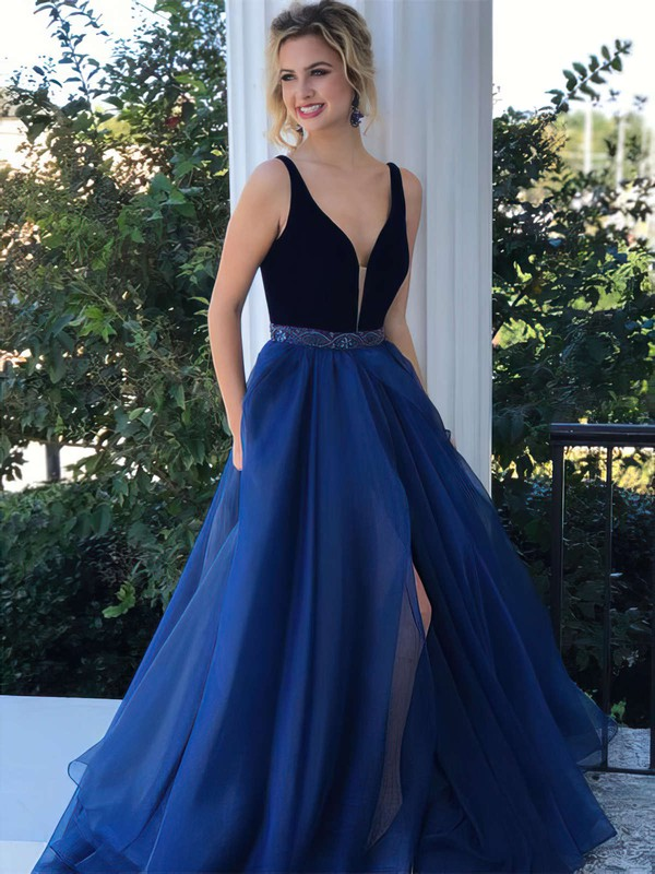 A-line V-neck Sweep Train Organza Velvet Prom Dresses with Beading Split Front #Favs020105016