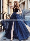 A-line V-neck Organza Velvet Sweep Train Beading Prom Dresses #Favs020105016