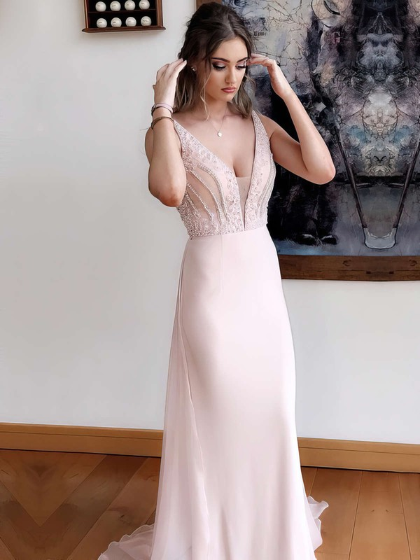A-line V-neck Chiffon Sweep Train Beading Prom Dresses #Favs020105018