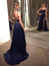 A-line V-neck Satin Sweep Train Beading Prom Dresses #Favs020105149