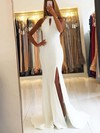 Trumpet/Mermaid Scoop Neck Sweep Train Satin Prom Dresses with Split Front #Favs020105151